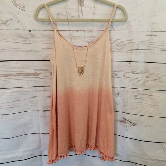 Ombré Mini Dress with Tassel Trim Spring is in the A I R!  We are totally crushing on our NEW ARRIVALS including this super cute two tone pom dress  ➖ Lightweight dress perfect for summer!   ➖ Sizes available: Small, Medium, Large Dresses Mini