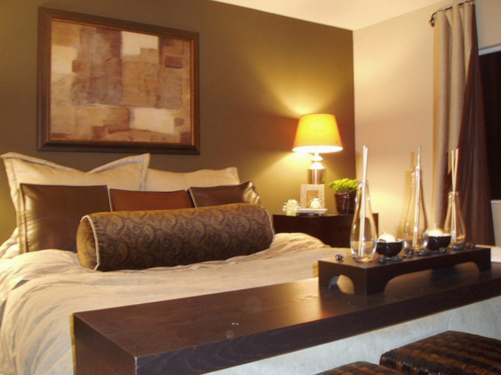 Bedroom small bedroom design ideas for couples with brown color schemes and table lamp tips on Brown and green master bedroom ideas