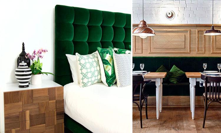 Tapicería acolchada con terciopelo verde esmeralda - Ámbar Muebles ...