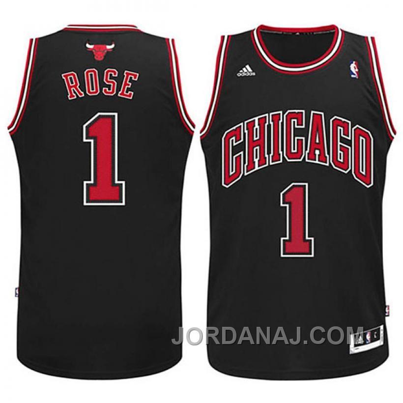 Chicago Bulls #1 Derrick Rose Revolution 30 Swingman Black Jersey