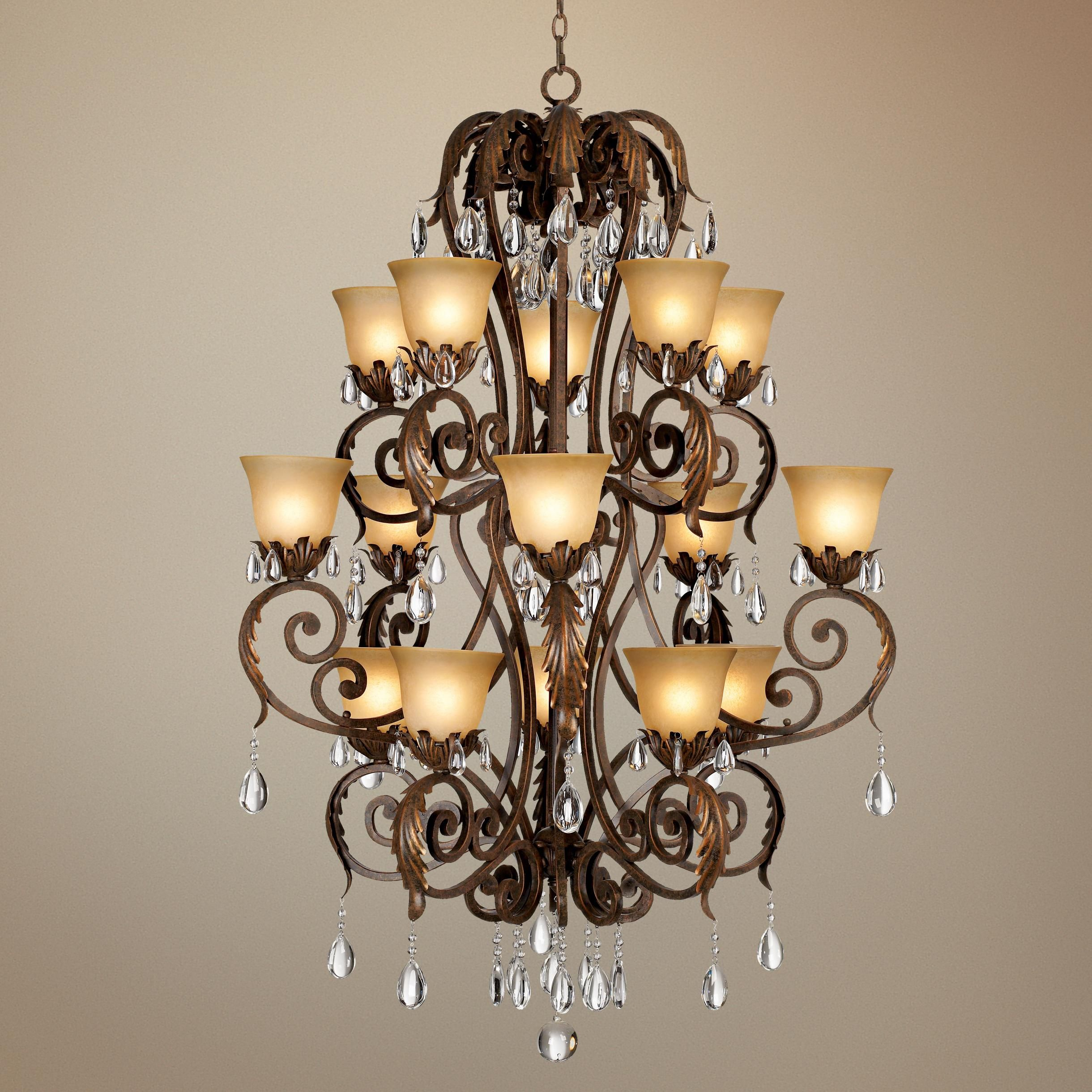 Valentina Iron Leaf Collection Three Tiered Chandelier 36 5 w x