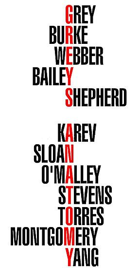 Greys Anatomy names • Also buy this artwork on wall prints, apparel ...