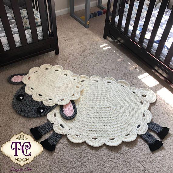 Crochet Lamb Rug Lamb Rug Nursery Decor Lamb Nursery Lamb | Craft ...