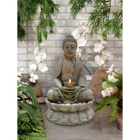Illuminated Buddha Outdoor Fountain With Led Light G2663 Lamps Plus Fountains Outdoor Outdoor Fountain Buddha Garden