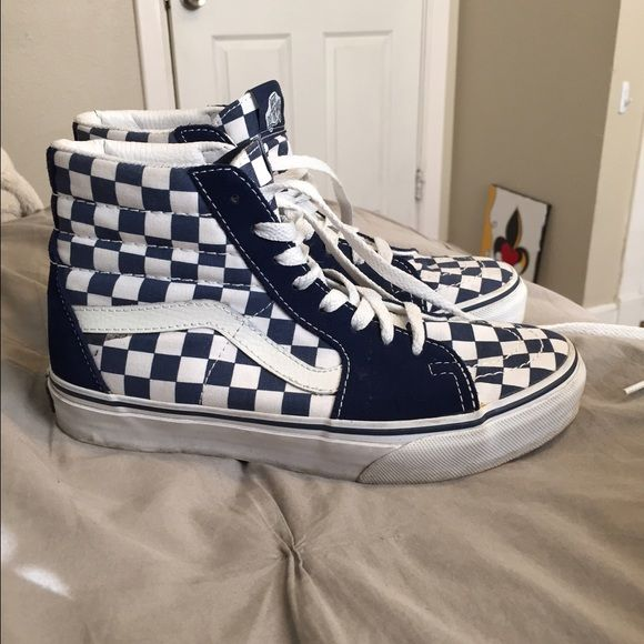 863c2ab4cd04 High top vans Blue checkered high top vans. Lightly worn in perfect  condition Vans Shoes Sneakers