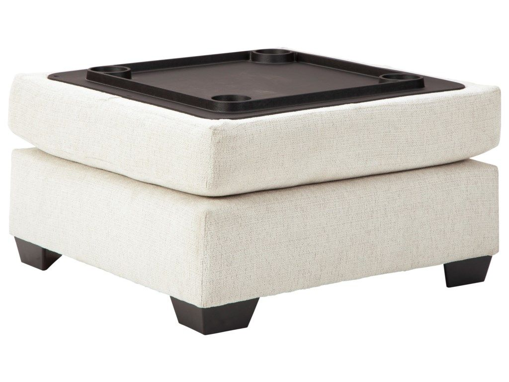 Cambri Ottoman With Storage Reversible Tray Top With Cup Holders By Ashley Furniture At Wayside Furniture Storage Ottoman Ashley Furniture Ottoman