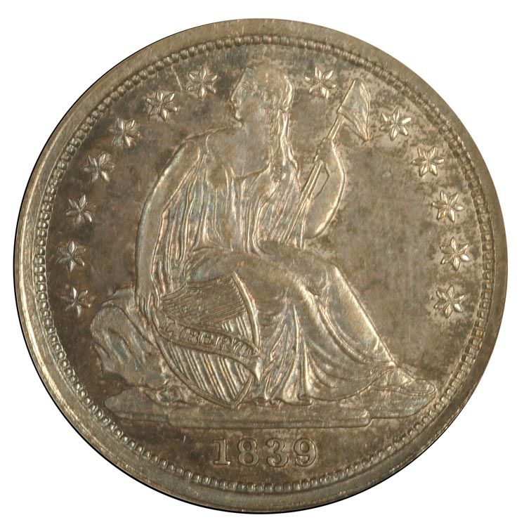 Seated Liberty Dimes 1839 10C PF Silver dimes, Old