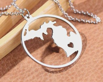 Michigan Necklace - 18K Gold plated Michigan Map Pendant - State Necklace -  Map necklace with circle - Can be made at any State