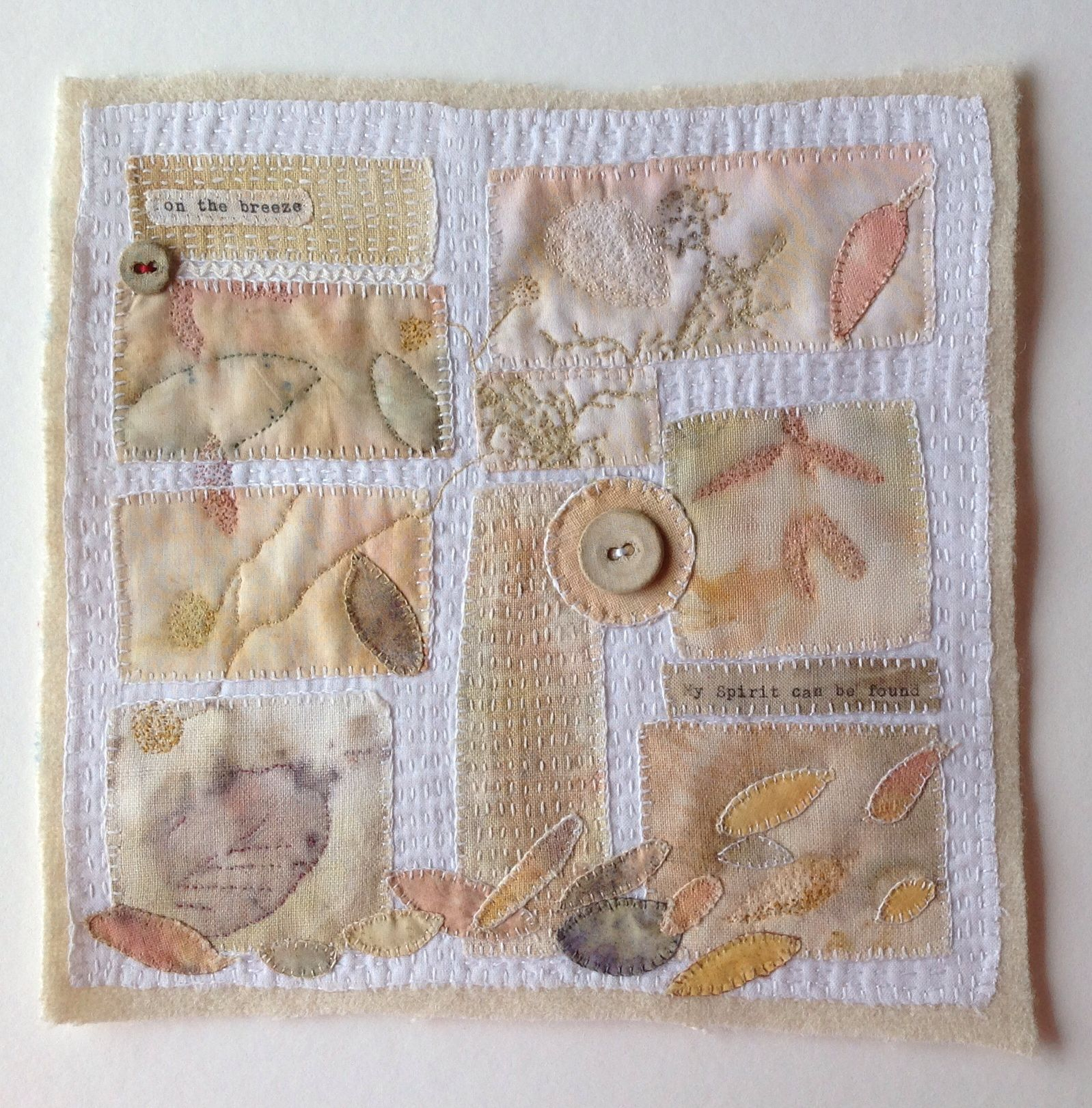Eco print Collage, vintage buttons, hand stitched by Marilyn Stephens.