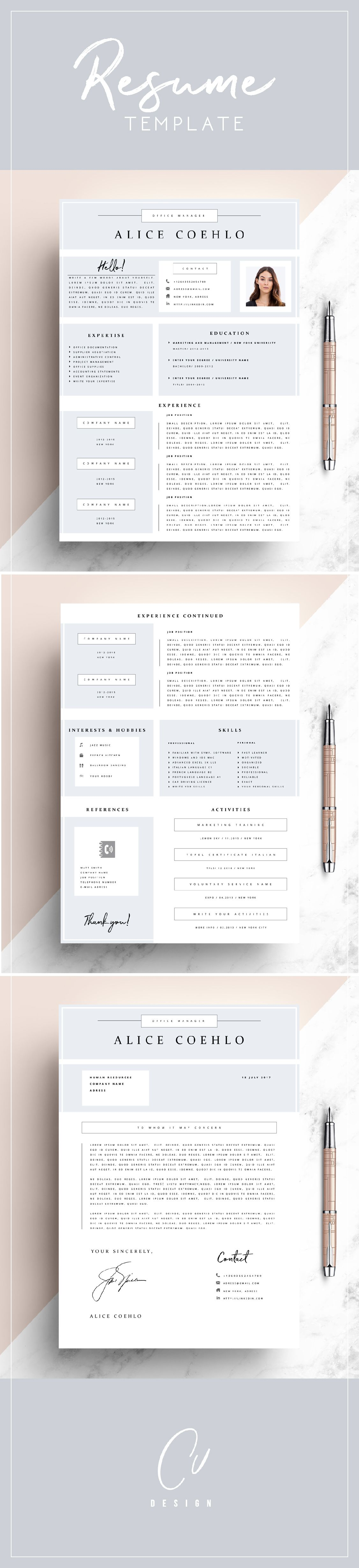 Cv Resume Template Word  Page Resume Template Modern Resume