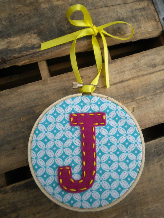 felt monogram embroidery hoop Christmas ornament