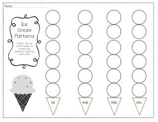 Ice Cream Patterns 1 2 3 Come Find Me Pattern Worksheets For