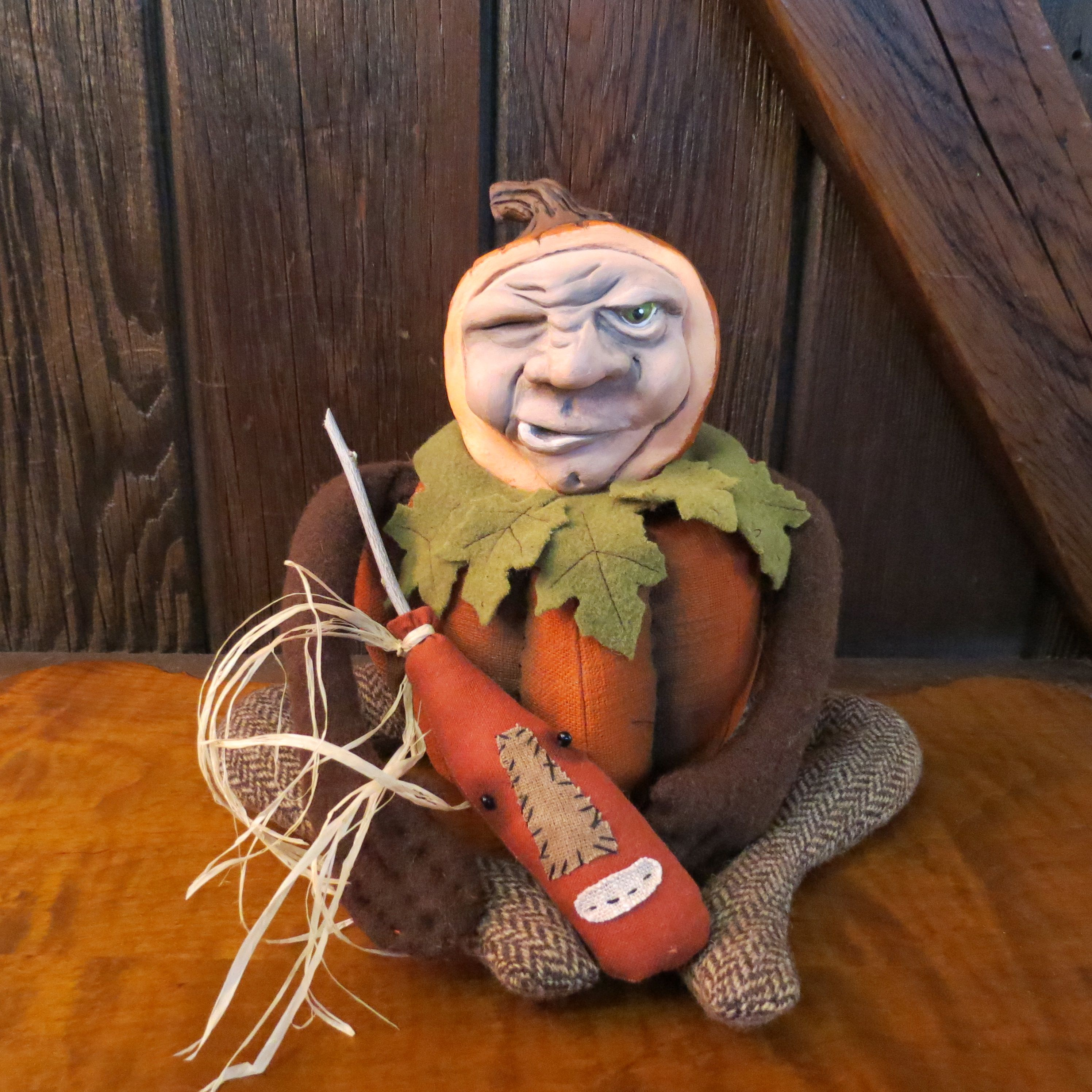 Pumpkin Man and his Gourd...find him on Etsy. Search:bayrayschild  ~SOLD~