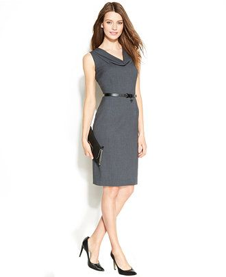 Calvin Klein Sleeveless Belted Sheath Dress - Wear to Work - Women ...