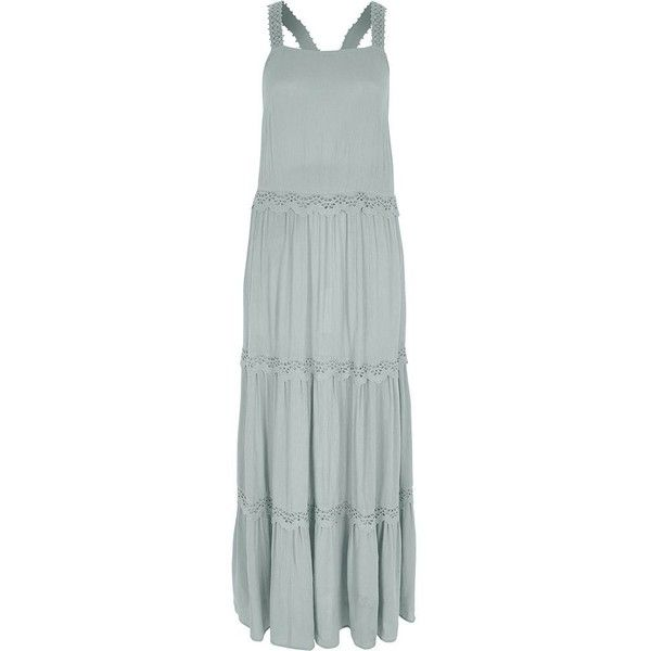 9368915005c0b River Island Light green embroidered tiered maxi dress ( 100) ❤ liked on  Polyvore featuring