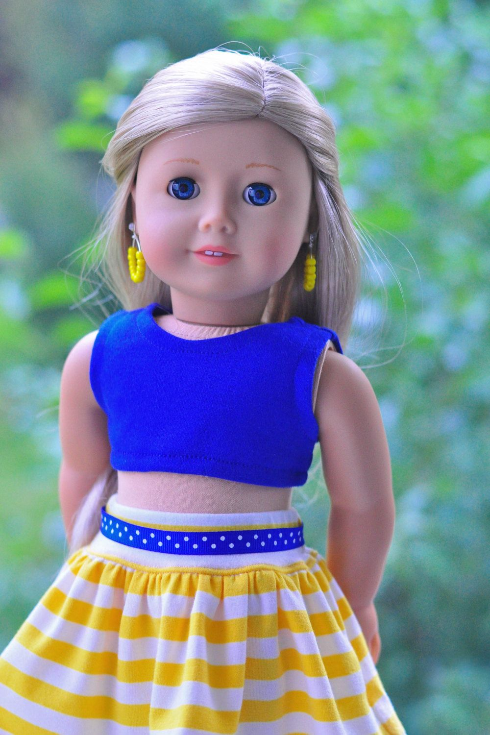 18 inch doll clothes, Girl doll clothes, AG doll clothes, blue crop top, yellow/white striped skirt, ribbon belt and earrings #girldollclothes