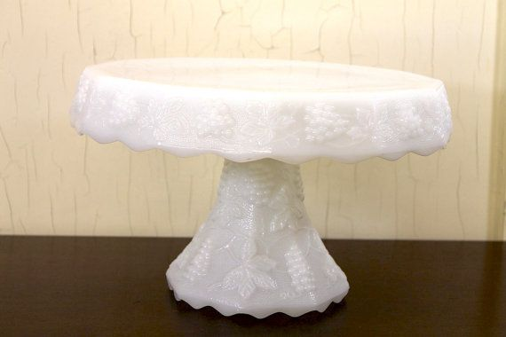 White Milk Glass Footed Cake Stand with by LittleRedHenONLINE, $45.00