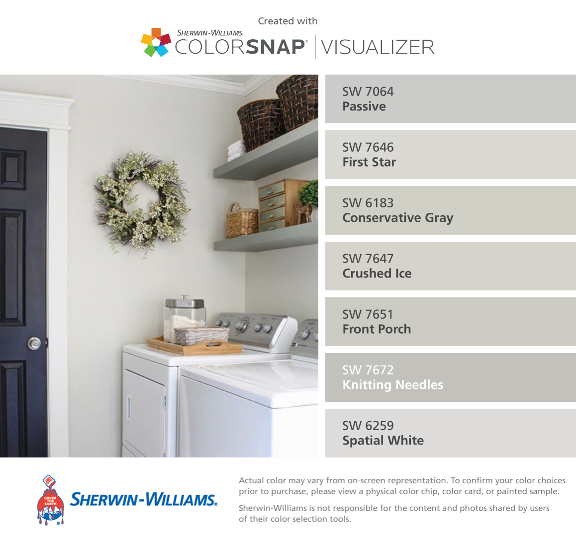 I found these colors with colorsnap visualizer for iphone by sherwin williams passive sw 7064 for Knitting needles paint exterior
