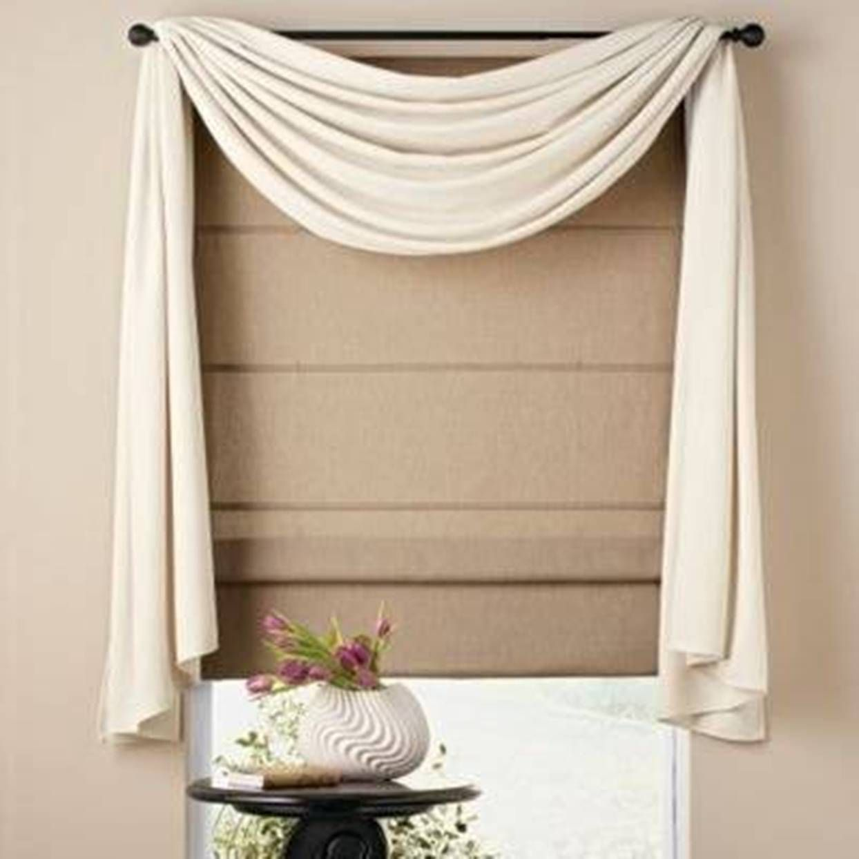 Living Room Curtain Idea   Already Have The Blind And Rod, Just Need  Appropriate Fabric To Drape :)