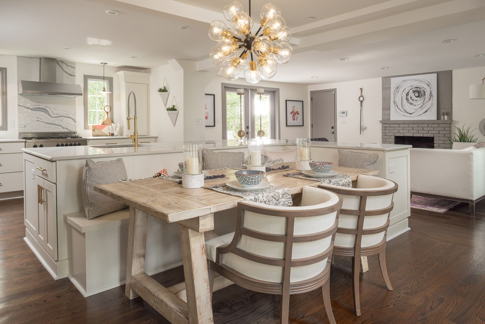 Wide Open Kitchen with Custom Built-In Banquette Seating