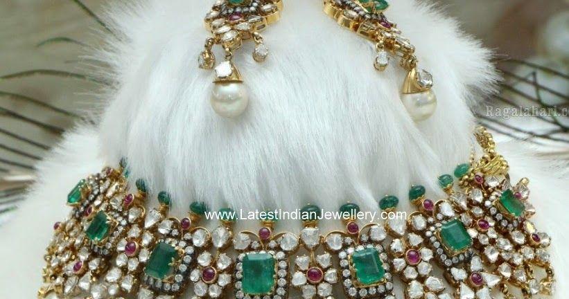 Polki Emerald Victorian Bridal Jewellery | Jewelry | Jewelry