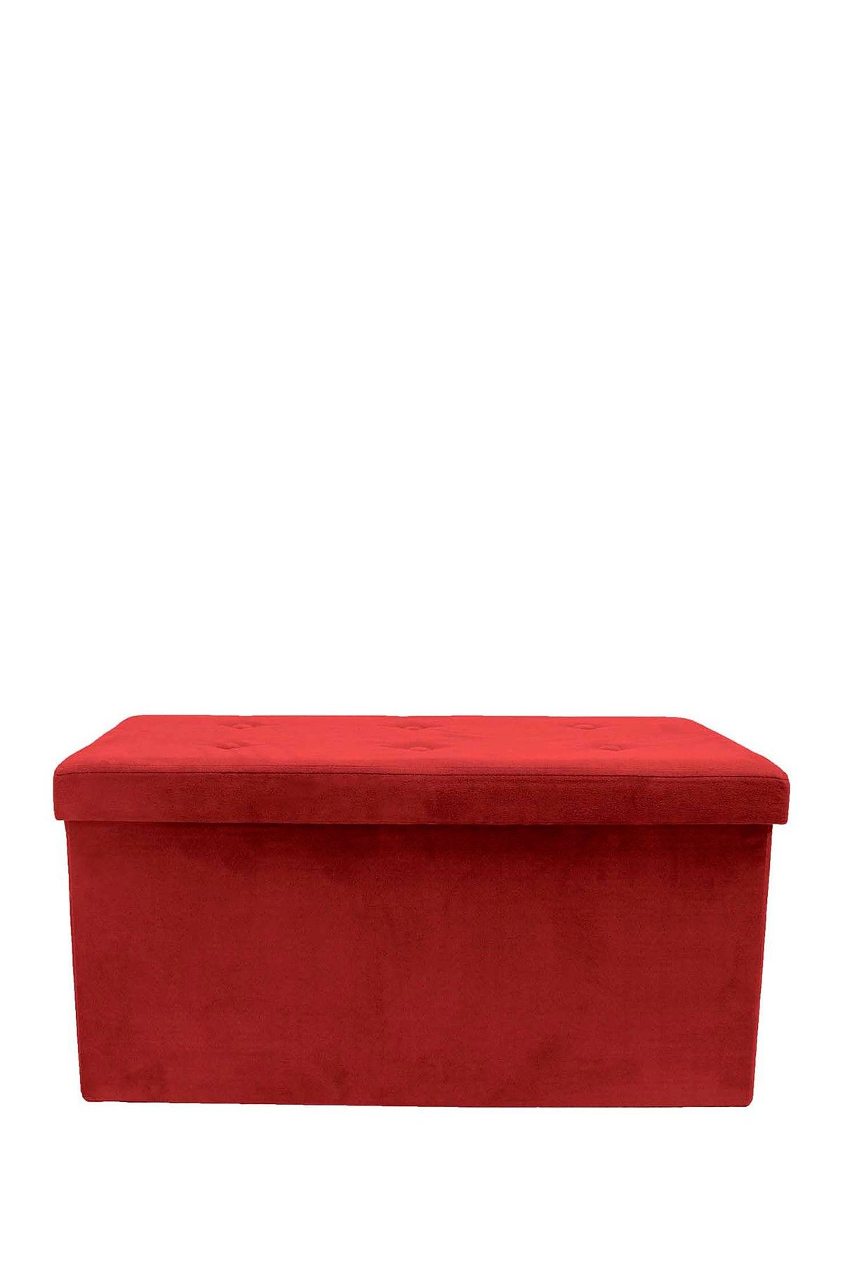 Sorbus Faux Suede Foldable Storage Bench   Red