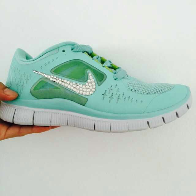 4fbde3c82953 Over Half Off Silver Bling Nike Free Run 3 Womens Swarovski Tiffany Blue