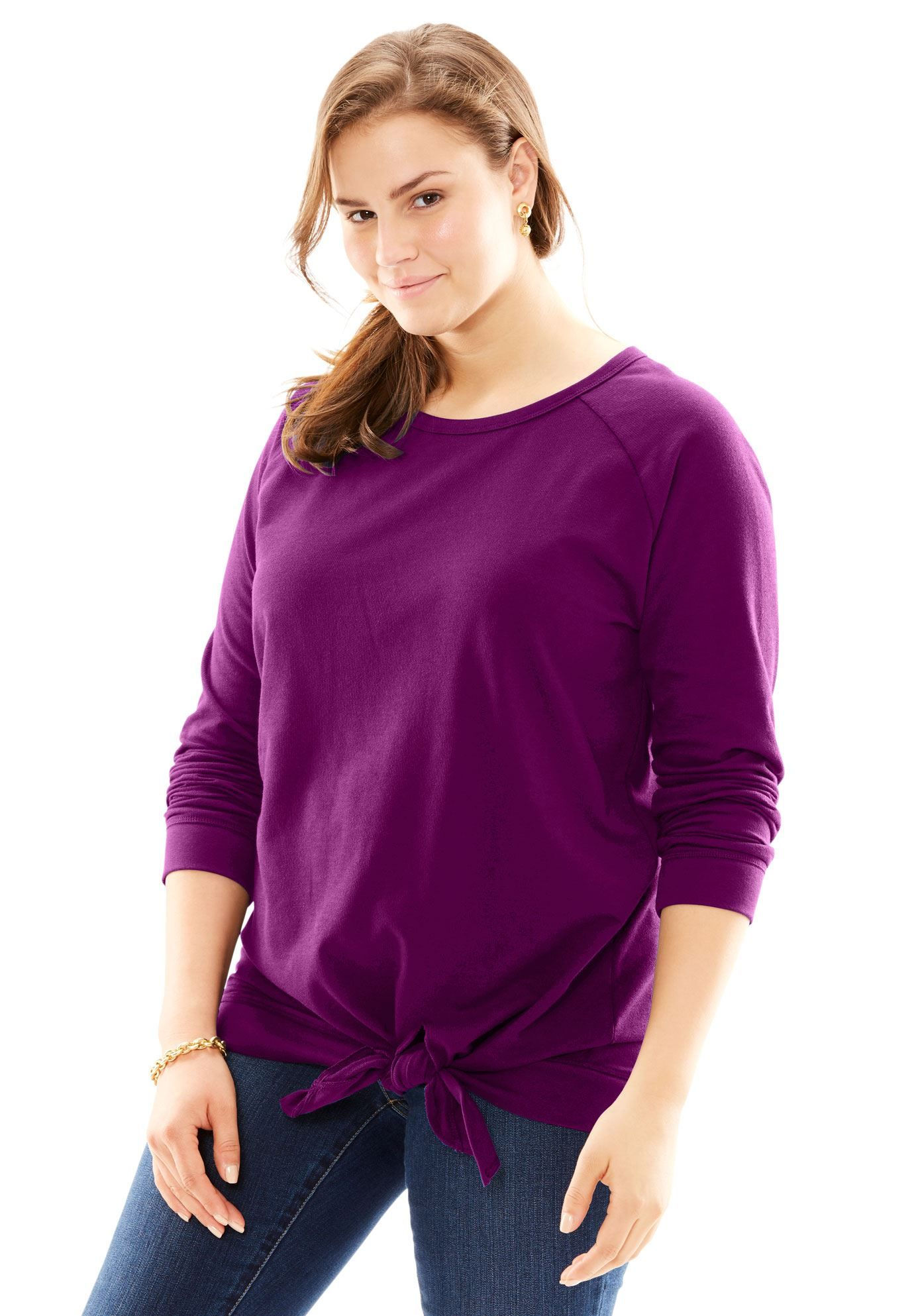 Tie-Front Sweatshirt - Women's Plus Size Clothing