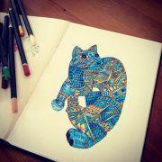 cynthia-cabello-coloring-pages-gato-alebrije-azu