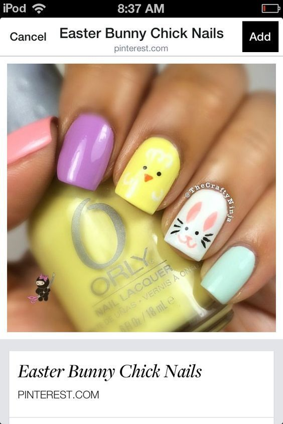 Easter-Bunny | Easy Easter Nail Designs for Short Nails | Cute ...