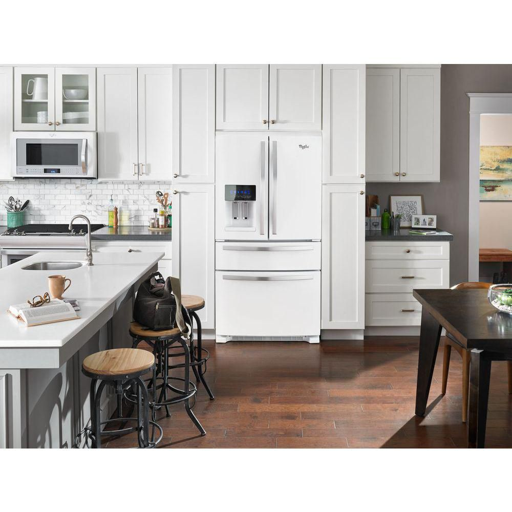 Whirlpool white ice french door - Whirlpool 36 In W 25 Cu Ft French Door Refrigerator In White Ice