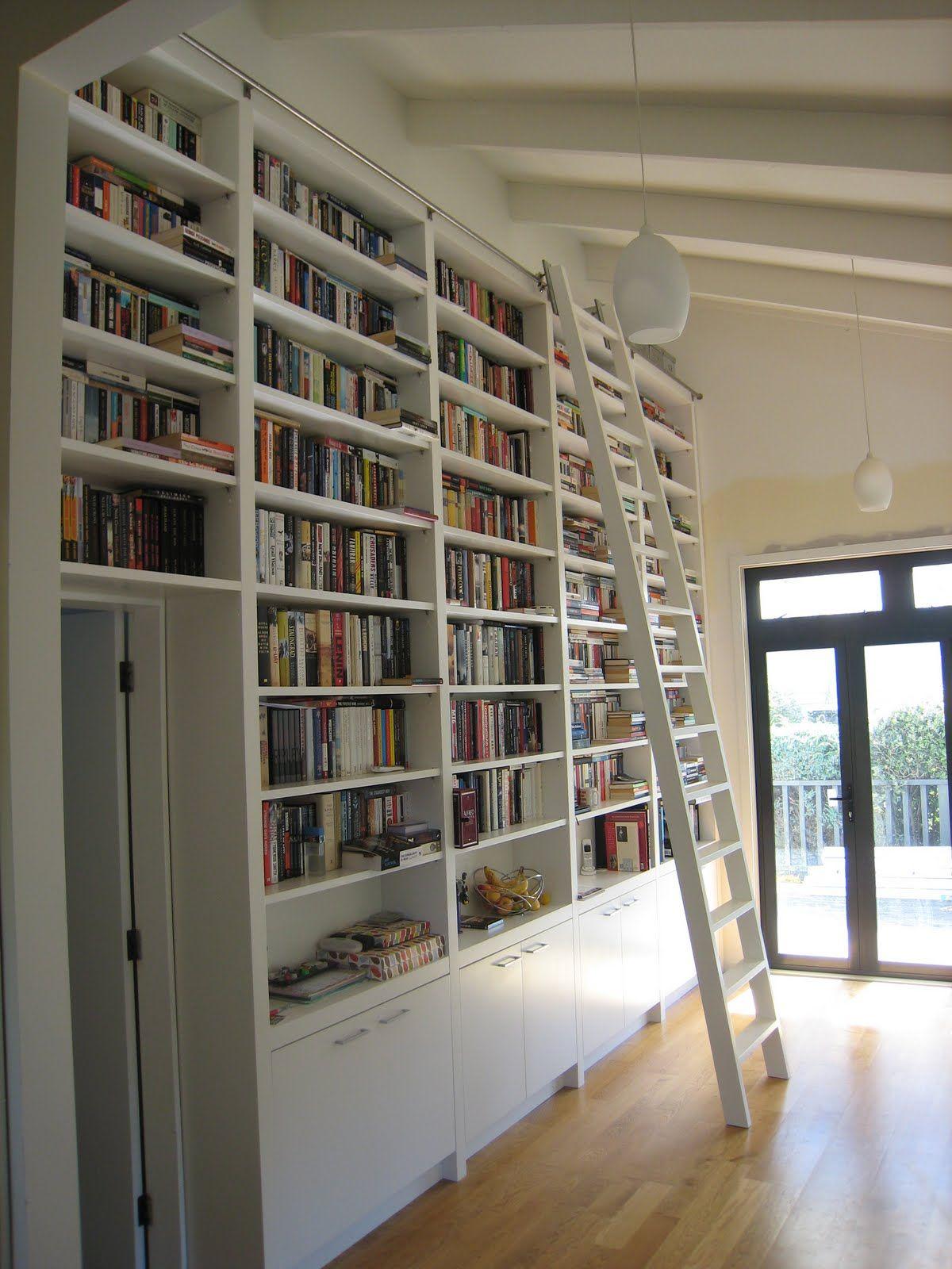 Image result for book shelves with ladder ADU 2018