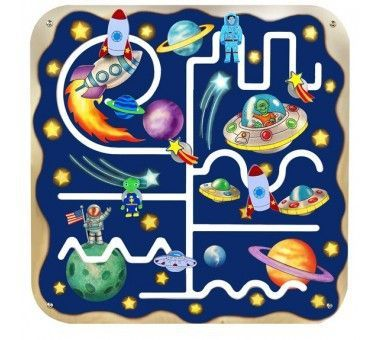 Learn the universe with the Outer Space Pathfinder Wall Panel! Fun, beautiful and decorative addition to your kids' toy room, play areas, waiting room and even the doctor's office. This wall panel promotes basic skills of logical thinking, visual tracking, and eye-hand coordination as your child moves the pieces forward, backward and around the track. Let your children explore the galaxy, discover shooting stars, planets and aliens while providing an educational experience.