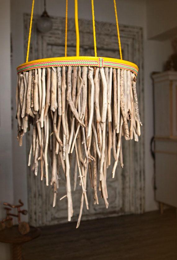 Driftwood Hanging Light Chandelier Three Tier Round Lamp Coastal Chic Rope