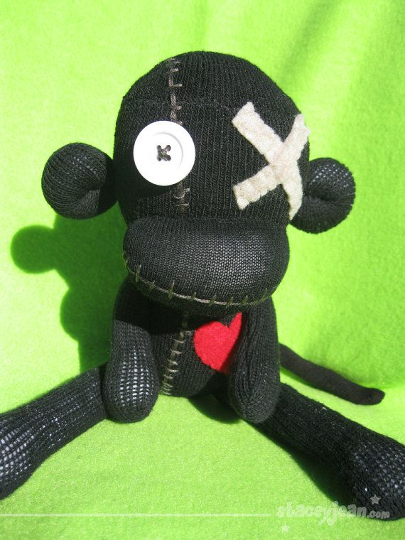 Obeah VooDoo Sock Monkey Doll by oOXstaceyjeanXOo on Etsy