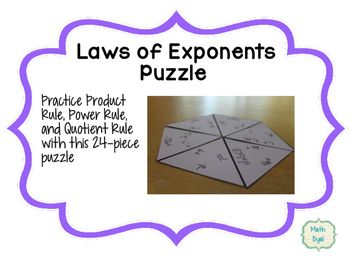 Laws Of Exponents Tarsia Puzzle Student Work Activities