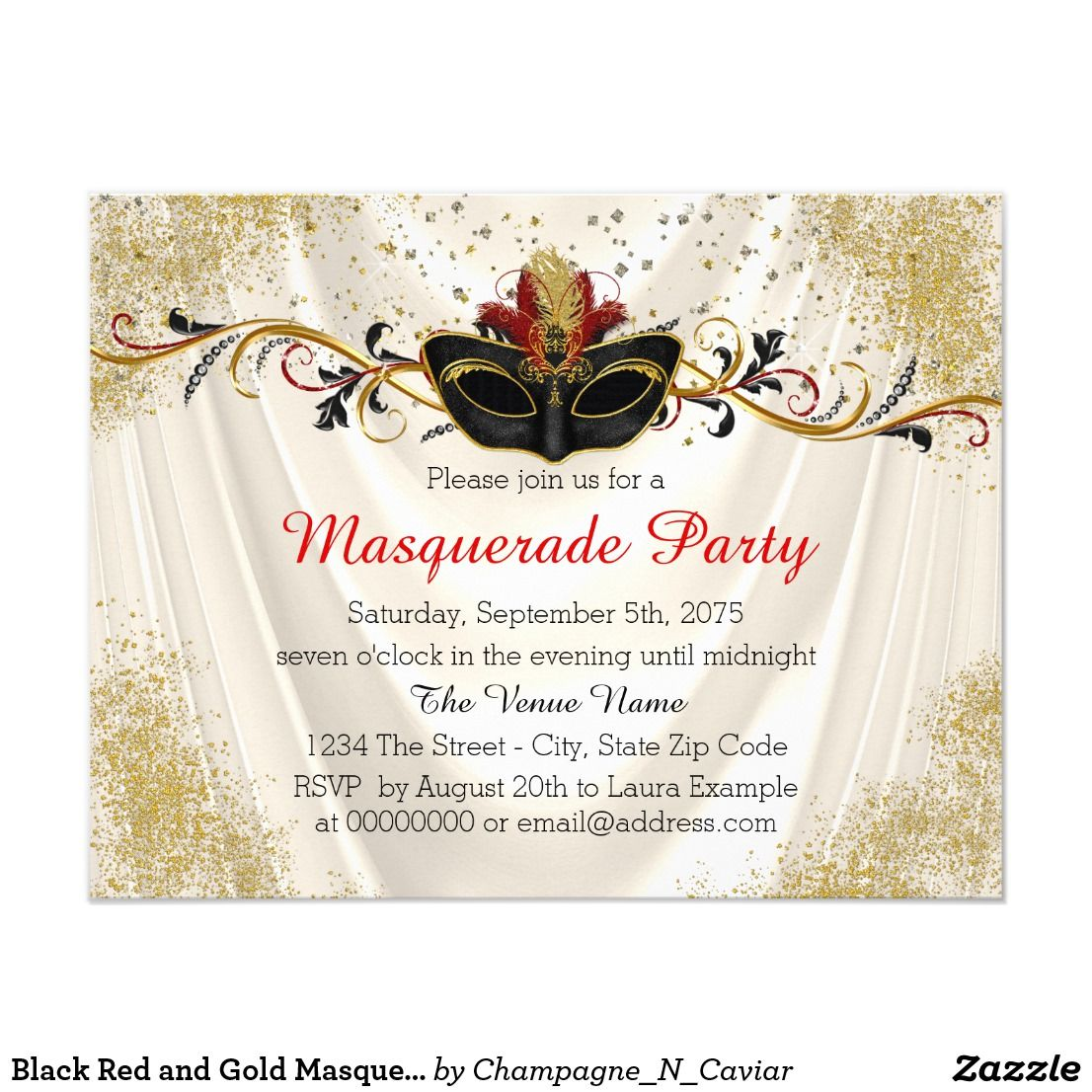 Black Red and Gold Masquerade Party Card | MASQUERADE SWEET SIXTEEN ...