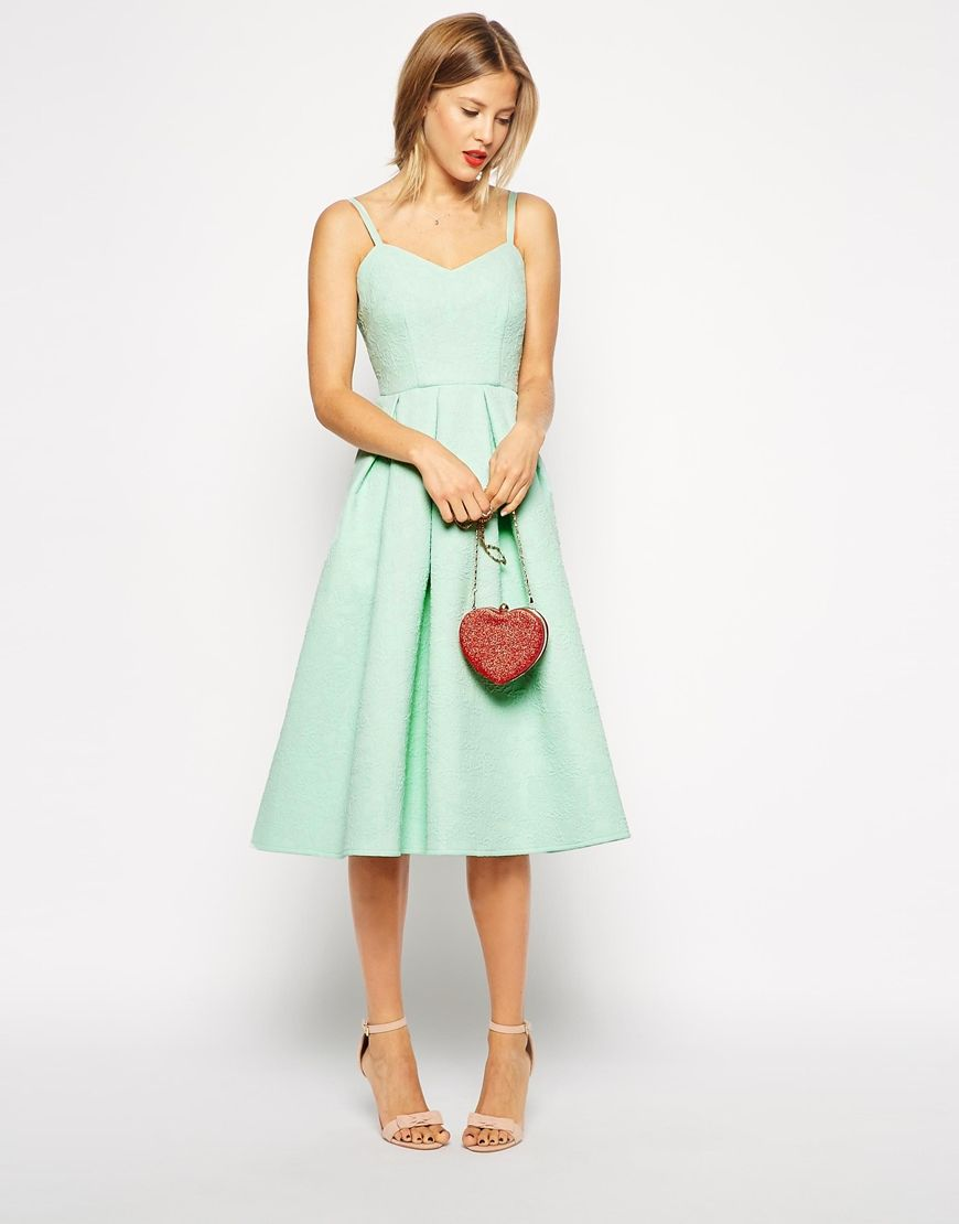 Enlarge ASOS Midi Skater Dress in Bonded Texture - Mint | Clothes ...