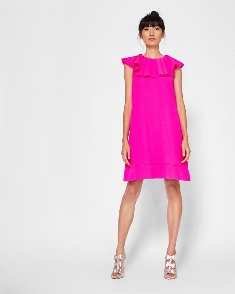 7618a02d78f9 Ruffle neck shift dress - Bright Pink