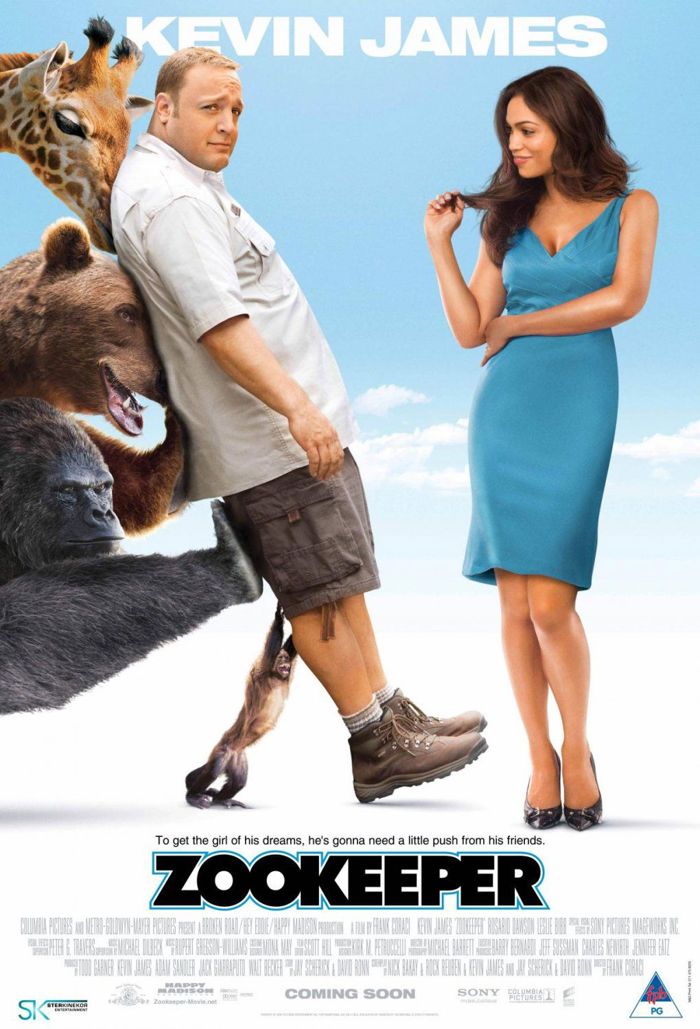 Zookeeper , starring Kevin James, Rosario Dawson, Leslie Bibb, Ken Jeong. A group of zoo animals decide to break their code of silence in order to help their lovable zoo keeper find love -- without opting to leave his current job for something more illustrious. #Comedy #Family #Romance