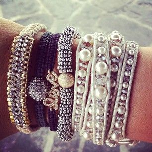 We're having a blast playing with all the gorgeous bracelets! Here's our silver arm party.
