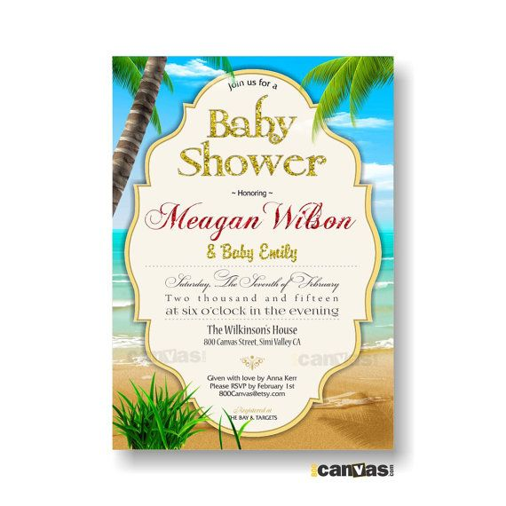 Beach Baby Shower Invitation  Summer Beach Baby Shower Invite