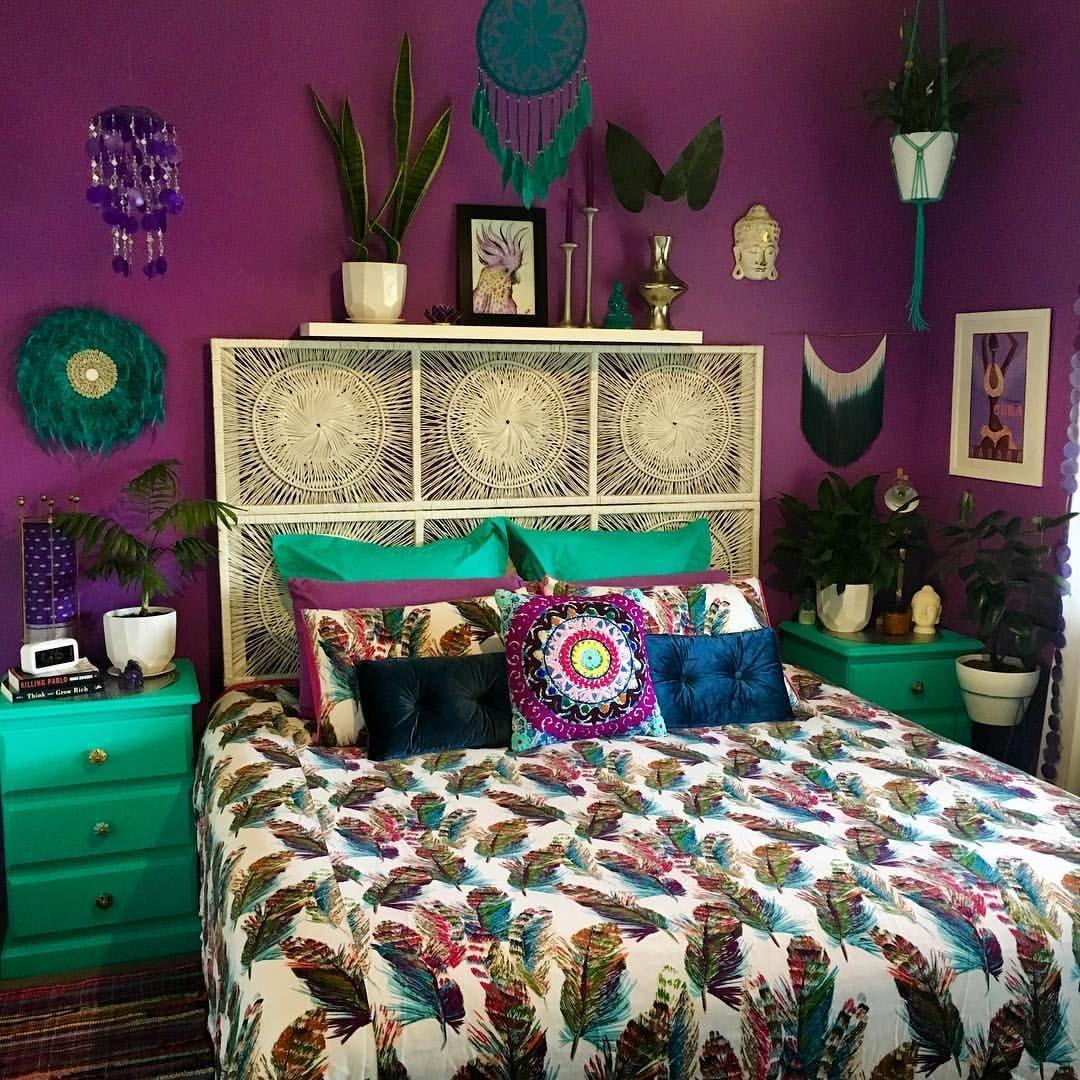 Purple walls | Home decor, Bohemian bedroom decor, Purple ...
