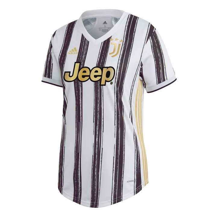 adidas Juventus 20/21 Home Jersey female Standing proud in black and white. Juventus have always had a certain presence on and off the field. This home football jersey makes a statement with bold brush strokes and golden details. Soft fabric dries quickly to keep you comfortable, whether you're taking in the match or just getting on with your day. A woven badge stands out on the chest. Ribbed V-neck. 100% recycled polyester tricot. Football jersey for Juventus fans. Washing Instructions: Machine