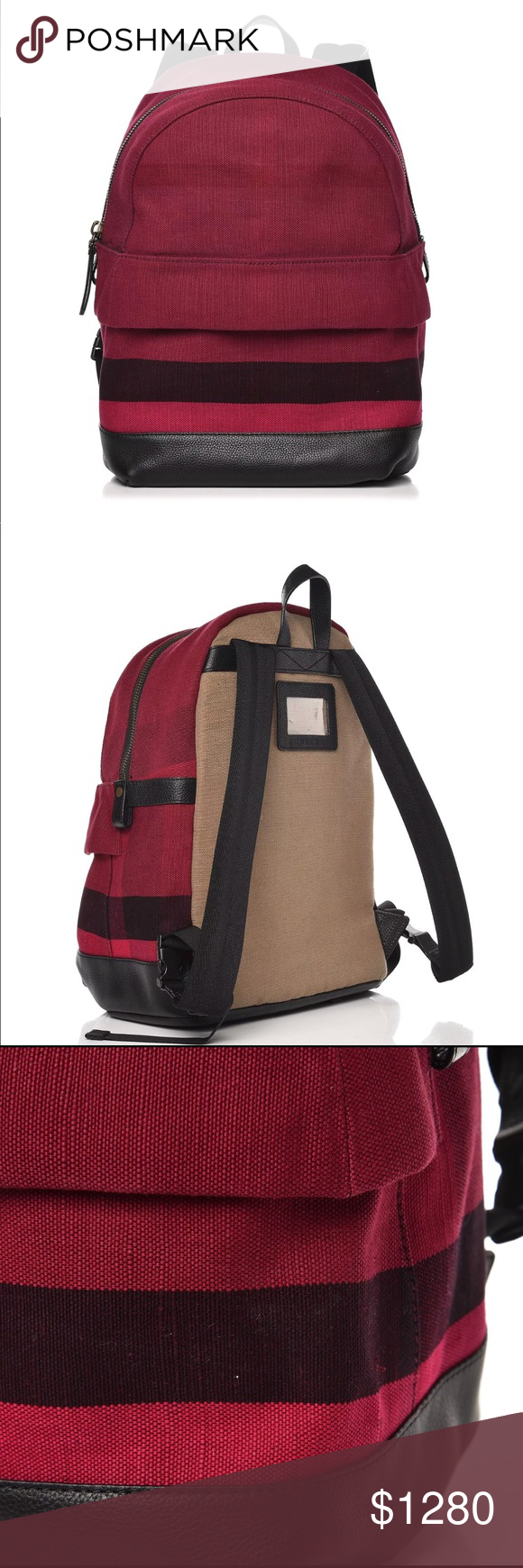 4005d0ce206c Authentic Burberry backpack This is an authentic BURBERRY Canvas Check  Leather Trim Backpack. This chic