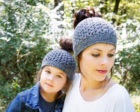 Kids Messy Bun Beanie - Gray Messy Bun Hat - Crochet Ponytail Beanie - Kids Bun Toque - Gift for Spo #messybunhat