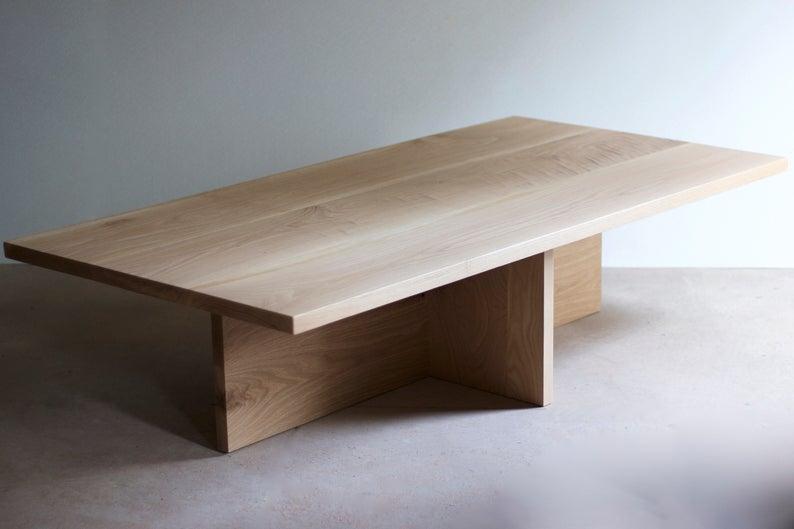 Oversized Plank Coffee Table White Oak or Walnut Organic
