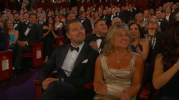 Leo sees his name up on the screen with the other nominees for the Academy Award for Best Actor. | A Heartbreaking Look At The Exact Moment Leonardo DiCaprio Didn't Win An Oscar Again