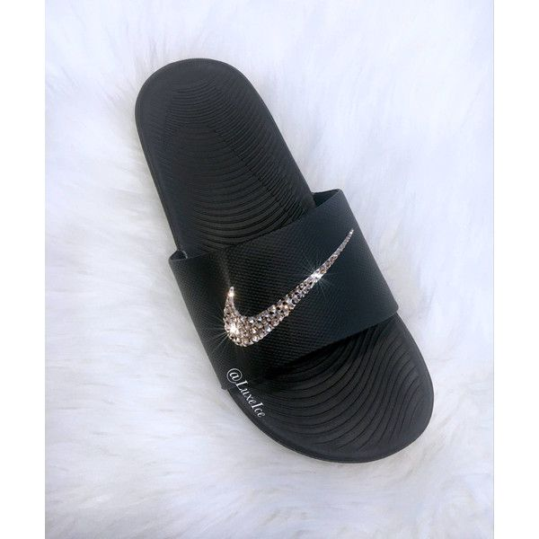 d671cfc9ac33 Nike Kawa Slides Flip Flops Customized With Swarovski Crystals ( 65) ❤  liked on Polyvore featuring shoes