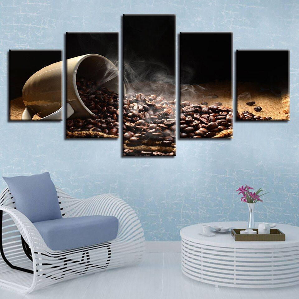 Coffee Beans Cup 5 Pieces canvas Wall Art Picture Poster Home Decor